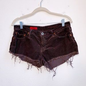 AG | Brown Distressed Raw Hem Shorts